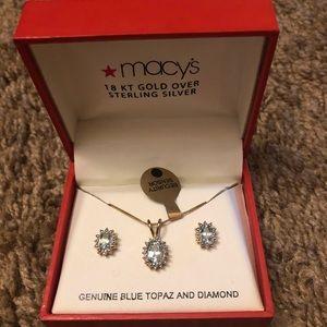 Blue Topaz Earrings & Necklace